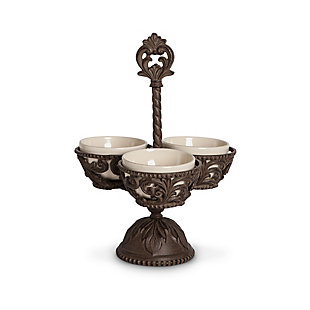 The Gerson Company Cream Ceramic and Acanthus Leaf Metal Condiment Server, , large