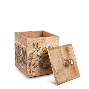 The Gerson Company Mango Wood with Laser and Metal Inlay Leaf Design Medium Canister, , large