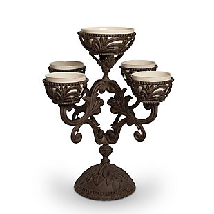 The Gerson Company Cream Ceramic and Acanthus Leaf Metal Epergne Centerpiece, , rollover