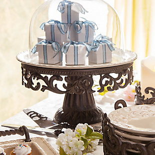 The Gerson Company Glass Domed Cake Pedestal with Acanthus Leaf Ornate Brown Metal Base and Cream Ceramic Plate, , rollover