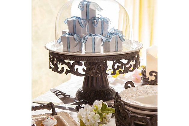 The Gerson Company Glass Domed Cake Pedestal with Acanthus Leaf Ornate Brown Metal Base and Cream Ceramic Plate, , large