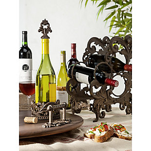 The Gerson Company Gg Collection Acanthus Three Bottle Wine Rack, , rollover