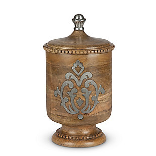 The Gerson Company Wood and Metal Inlay Medium Heritage Collection Canister, , large