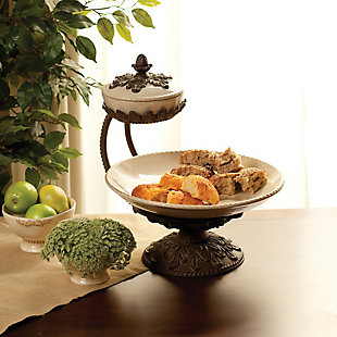 The Gerson Company Cream Ceramic and Acanthus Leaf Chip and Dip Server, , rollover