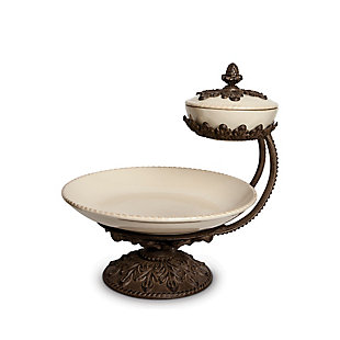 The Gerson Company Cream Ceramic and Acanthus Leaf Chip and Dip Server, , large