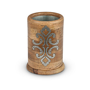 The Gerson Company Heritage Collection Wood And Metal Inlay Wine Chiller, , large