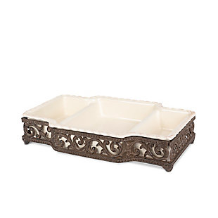 The Gerson Company Cream Stoneware 3-Part Server In Metal Acanthus Leaf Base, , rollover