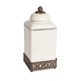 The Gerson Company 15-Inch Tall Cream Ceramic Canister with Acanthus Leaf Adorned Metal  Base, , rollover