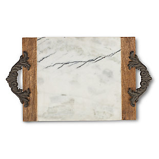 The Gerson Company Antiquity Collection Marble, Wood and Metal Large Cutting/Serving Board, , large