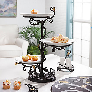 The Gerson Company Metal Gold Leaf 3-Tier Stand with White Stoneware Plates, , rollover