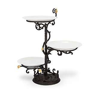 The Gerson Company Metal Gold Leaf 3-Tier Stand with White Stoneware Plates, , large