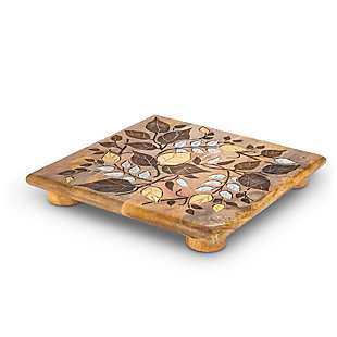 The Gerson Company Mango Wood with Laser and Metal Inlay Leaf Design Trivet, , large