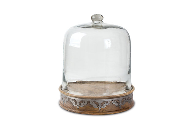 The Gerson Company Medium Wood and Inlay Mital Heritage Collection Pastry Keeper and Dome, , large
