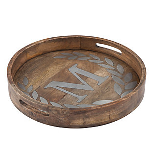 """The Gerson Company Heritage Collection Mango Wood Round Tray with Letter """"M"""", , rollover"""
