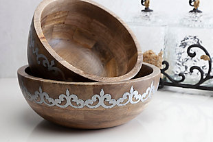 The Gerson Company Mango Wood with Metal Inlay Heritage Wide Serving Bowl, , rollover