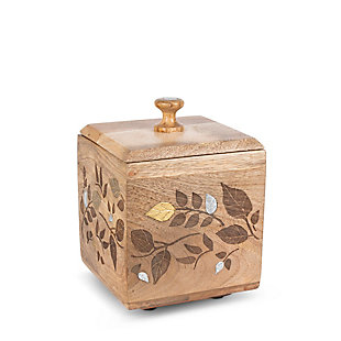 The Gerson Company Mango Wood with Laser and Metal Inlay Leaf Design Small Canister, , large