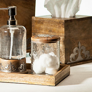 The Gerson Company Small Heritage Collection 4.6-Inch High Glass Jar and Metal Inlay Wood Top, , rollover