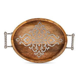The Gerson Company Medium 20.75-inch Long Wood And Metal Heritage Collection Oval Tray, , large