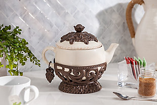 The Gerson Company Cream Ceramic 32 Ounce Teapot with Acanthus Leaf Metal Base, , rollover