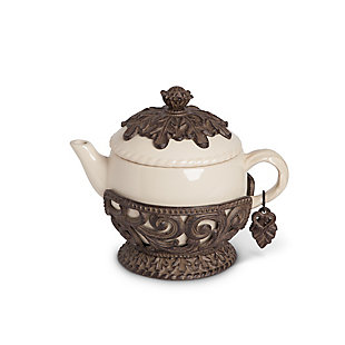 The Gerson Company Cream Ceramic 32 Ounce Teapot with Acanthus Leaf Metal Base, , large