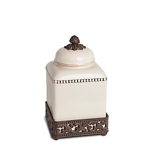 The Gerson Company 12-Inch Tall Cream Ceramic Canister with Acanthus Leaf Adorned Metal  Base, , rollover