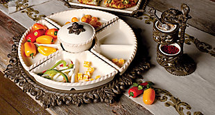 The Gerson Company Cream Ceramic Lazy Susan Crudite with Acanthus Leaf Metal Base, , rollover