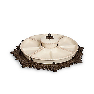 The Gerson Company Cream Ceramic Lazy Susan Crudite with Acanthus Leaf Metal Base, , large