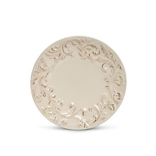 """The Gerson Company 4 8.5""""D Cream-Colored Acanthus Leaf Embossed Salad Plates, , large"""