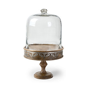 The Gerson Company Large 12-Inch Diameter Heritage Collection Wood and Metal  Cake Pedestal and Dome, , large