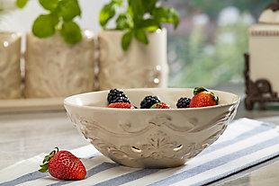 The Gerson Company Acanthus Stoneware Berry Bowl, , rollover
