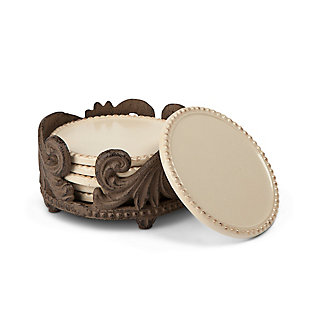 The Gerson Company Cream Ceramic 6-Piece Acanthus Leaf Collection Coasters, , large