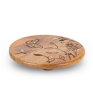The Gerson Company Mango Wood with Laser Butterfly Design Round Trivet, , large