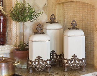 The Gerson Company 15-Inch Tall Provencial Cream Canister with Brown Metal Scrolled Base, , rollover