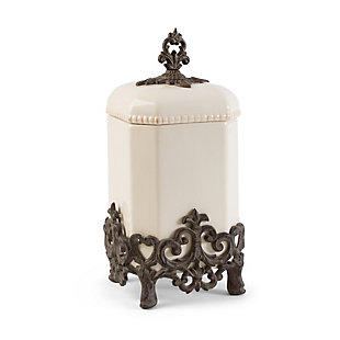 The Gerson Company 15-Inch Tall Provencial Cream Canister with Brown Metal Scrolled Base, , large