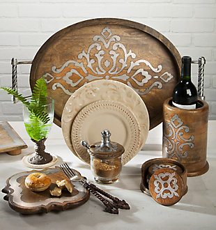 The Gerson Company 5-inch Diameter Wood And Metal Heritage Collection Coasters With Wooden Holder, , rollover