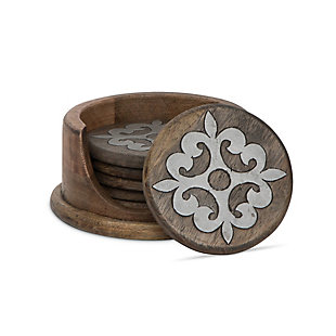 The Gerson Company 5-inch Diameter Wood And Metal Heritage Collection Coasters With Wooden Holder, , large
