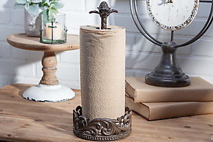 The Gerson Company Paper Towel Holder In Acanthus Leaf Cast Metal, , rollover