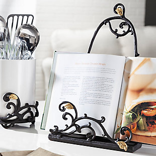 The Gerson Company 15-inch Tall Gold Leaf Ceramic Message Board Or Book Holder, White Stoneware And Metal Espresso Brown Vines With Golf Leaf Accents, , rollover