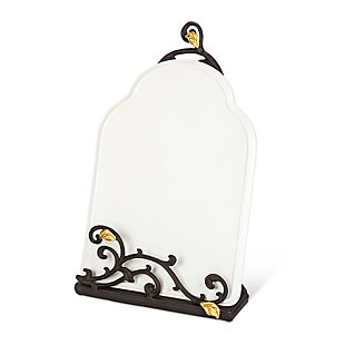 The Gerson Company 15-inch Tall Gold Leaf Ceramic Message Board Or Book Holder, White Stoneware And Metal Espresso Brown Vines With Golf Leaf Accents, , large