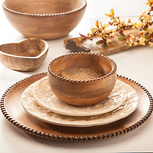 The Gerson Company Mango Wood Serveware Collection  Wood Beaded Chargers (Set of 4), , rollover