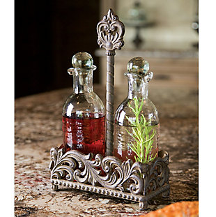The Gerson Company 13-Inch Acanthus Metal and Glass Oil and Vinegar Creut Set, , rollover