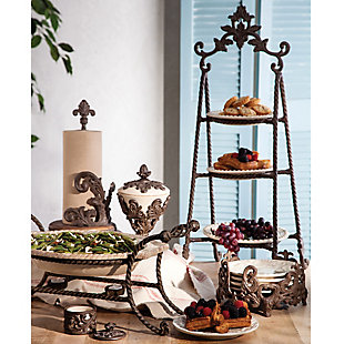 The Gerson Company Stoneware Chafing Dish On Metal Stand, , rollover