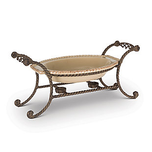 The Gerson Company Stoneware Chafing Dish On Metal Stand, , large