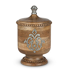 The Gerson Company Wood and Metal Inlay Small Heritage Collection Canister, , large