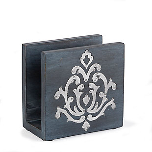 The Gerson Company Gray-washed Metal-inlay Napkin Holder, , rollover