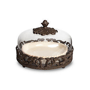 The Gerson Company Cream Ceramic Pie Plate with Dome Lid with Acanthus Leaf Metal Base, , large