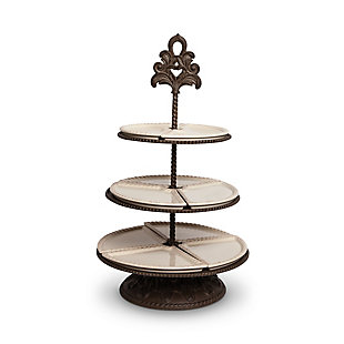 The Gerson Company Cream Ceramic and Acanthus Leaf Metal 3-Tiered Server, , large