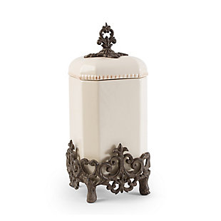 The Gerson Company 16-Inch Tall Provencial Cream Canister with Brown Metal Scrolled Base, , large
