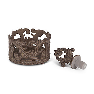 The Gerson Company Gg Collection Acanthus Wine Bottle Holder And Stopper, , rollover
