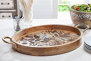The Gerson Company Mango Wood with Laser and Metal Inlay Leaf Design Oval Tray with Gold-Tone Handles, , rollover